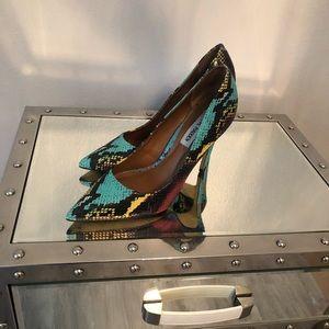 Leather snake print heels